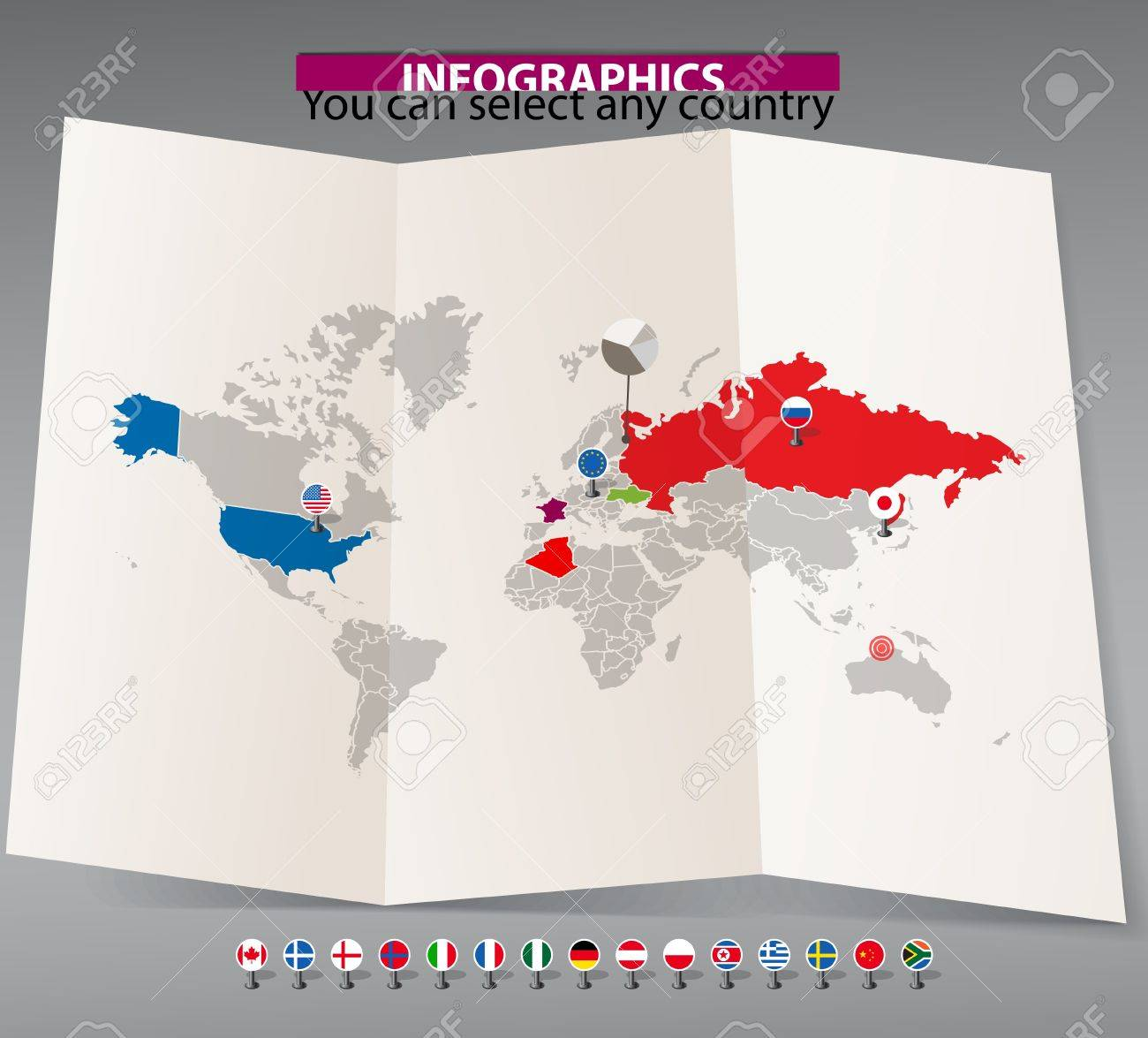 World map on old map and flags of different countries you can vector world map on old map and flags of different countries you can select any country by color gumiabroncs Choice Image
