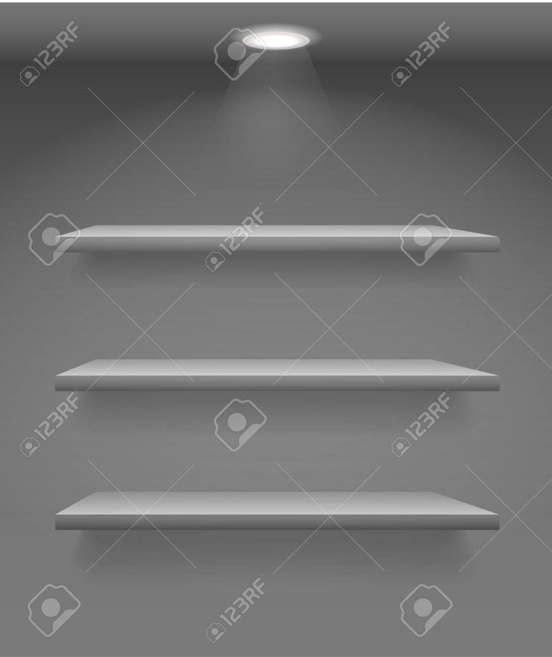 Book shelves on dark wall Stock Vector - 11430587