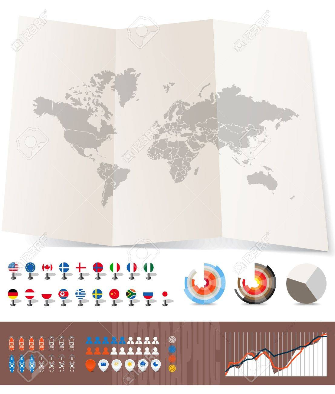 World map on old map and flags of different countries diagrams vector world map on old map and flags of different countries diagrams and other signs you can select any country by color gumiabroncs Image collections