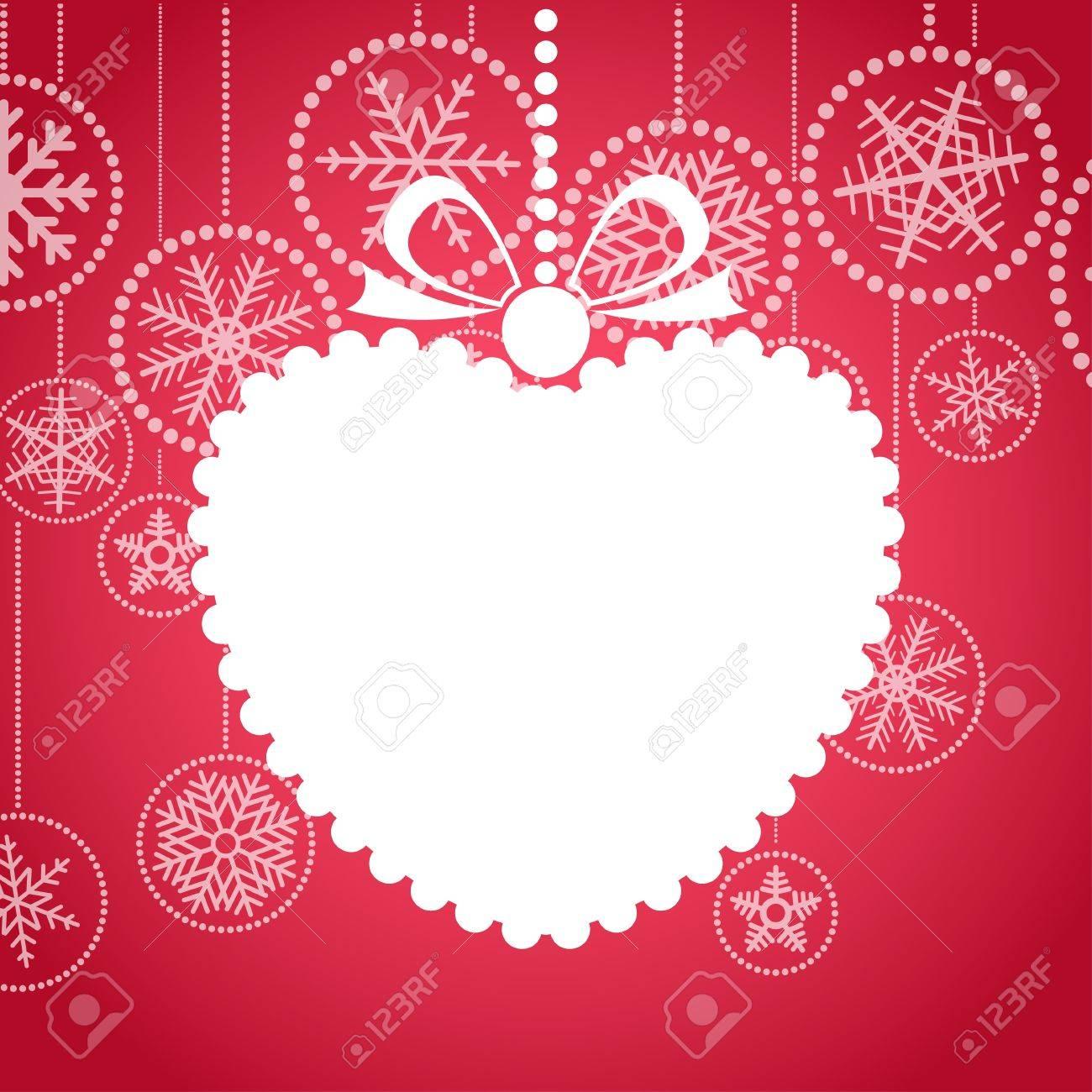 Red de felicitación de Navidad con la tarjeta blanca de juguetes de Navidad. Feliz Navidad y Próspero Año Nuevo Hapy, Foto de archivo - 11595627