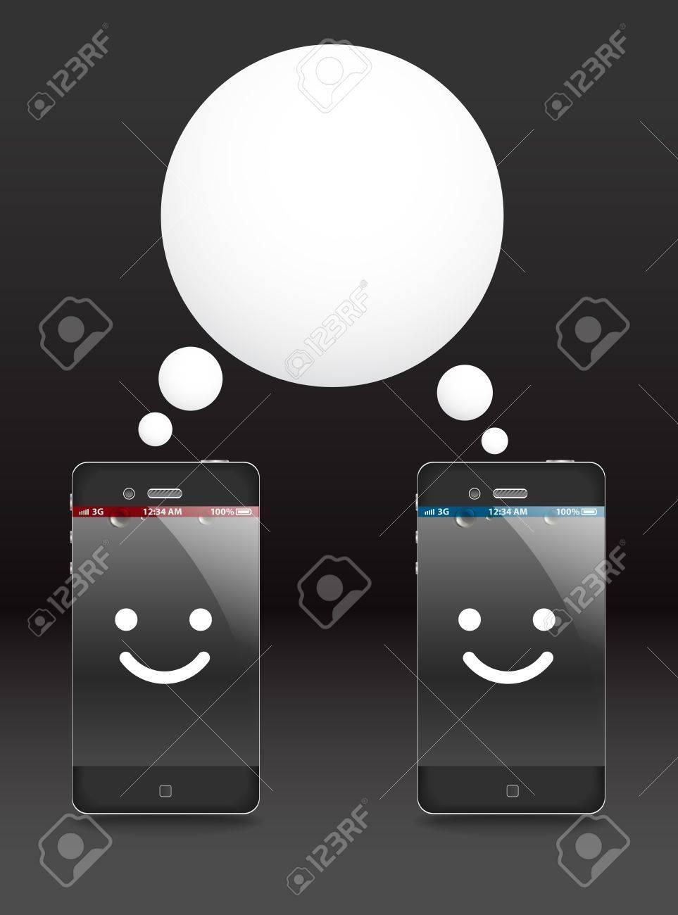 Smiling modern phones with speech cloud. Conversation Stock Vector - 11974039