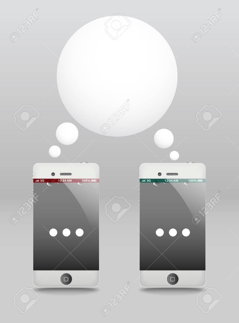 Modern phones with speech cloud. Conversation Stock Vector - 12429016