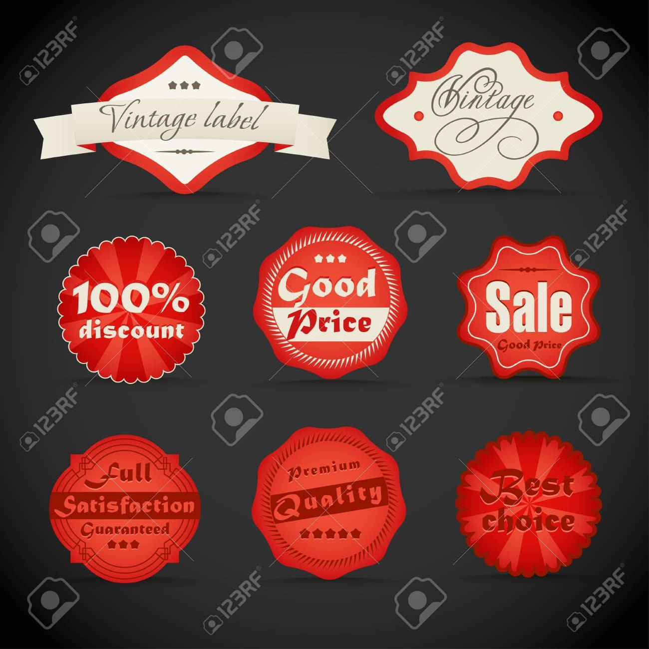 vintage discount shopping labels Stock Vector - 12429114