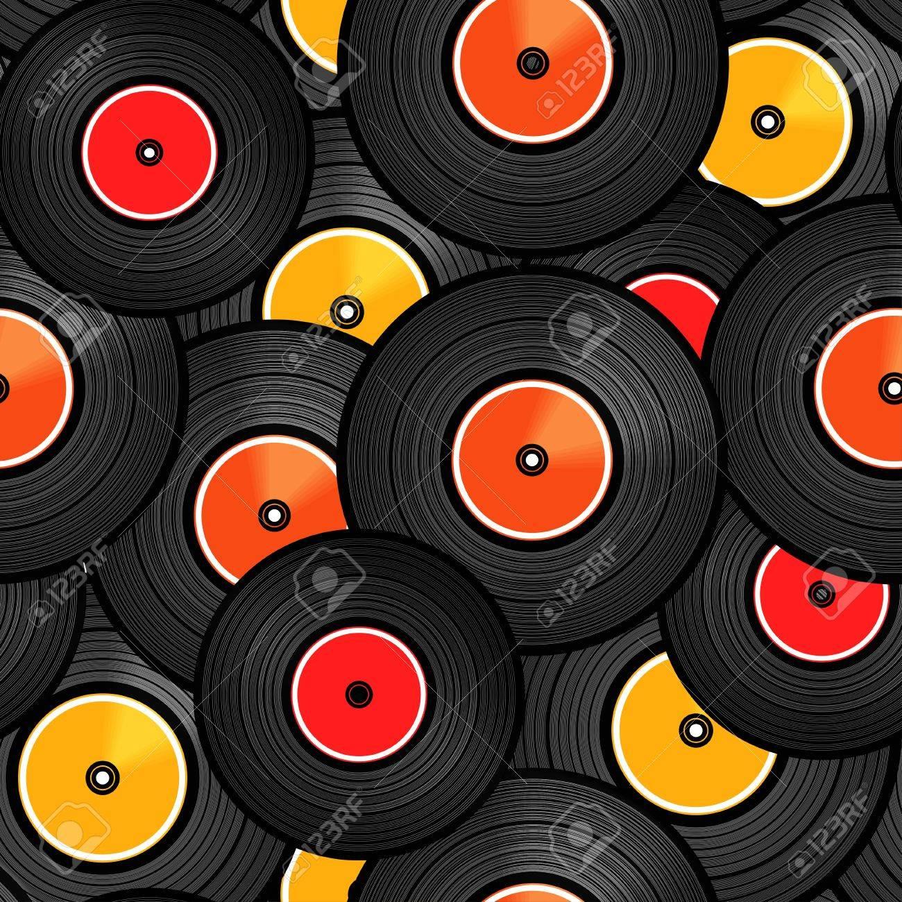 Vinyl audio discs seamless background Stock Vector - 12497884