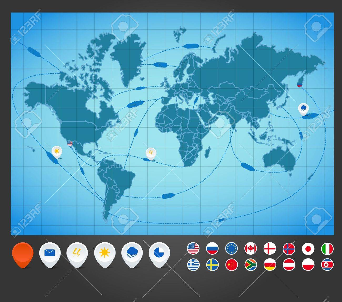 Infographics World Map With Ship Tracking Royalty Free Cliparts – Travel Tracking Map