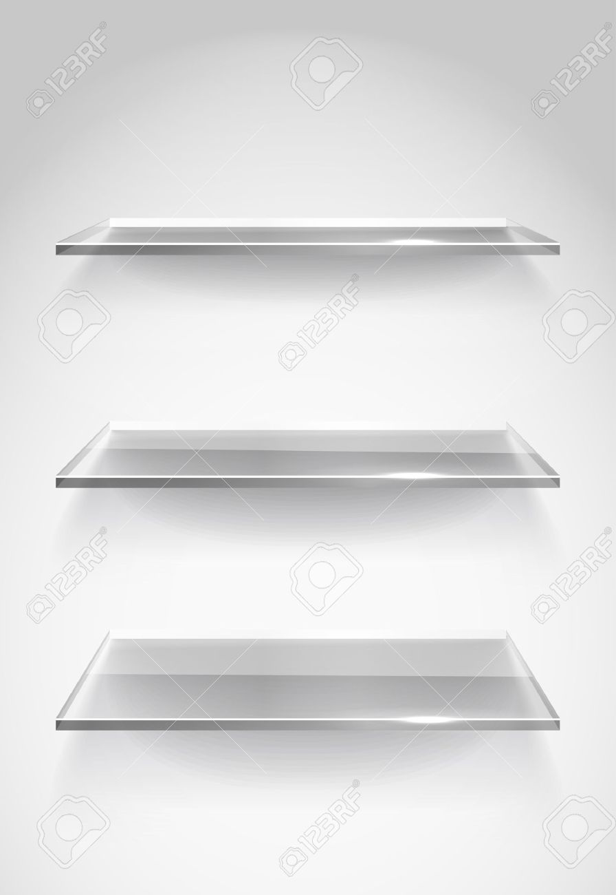 Three empty advertising glass shelves on the wall Stock Vector - 12837427 - Three Empty Advertising Glass Shelves On The Wall Royalty Free