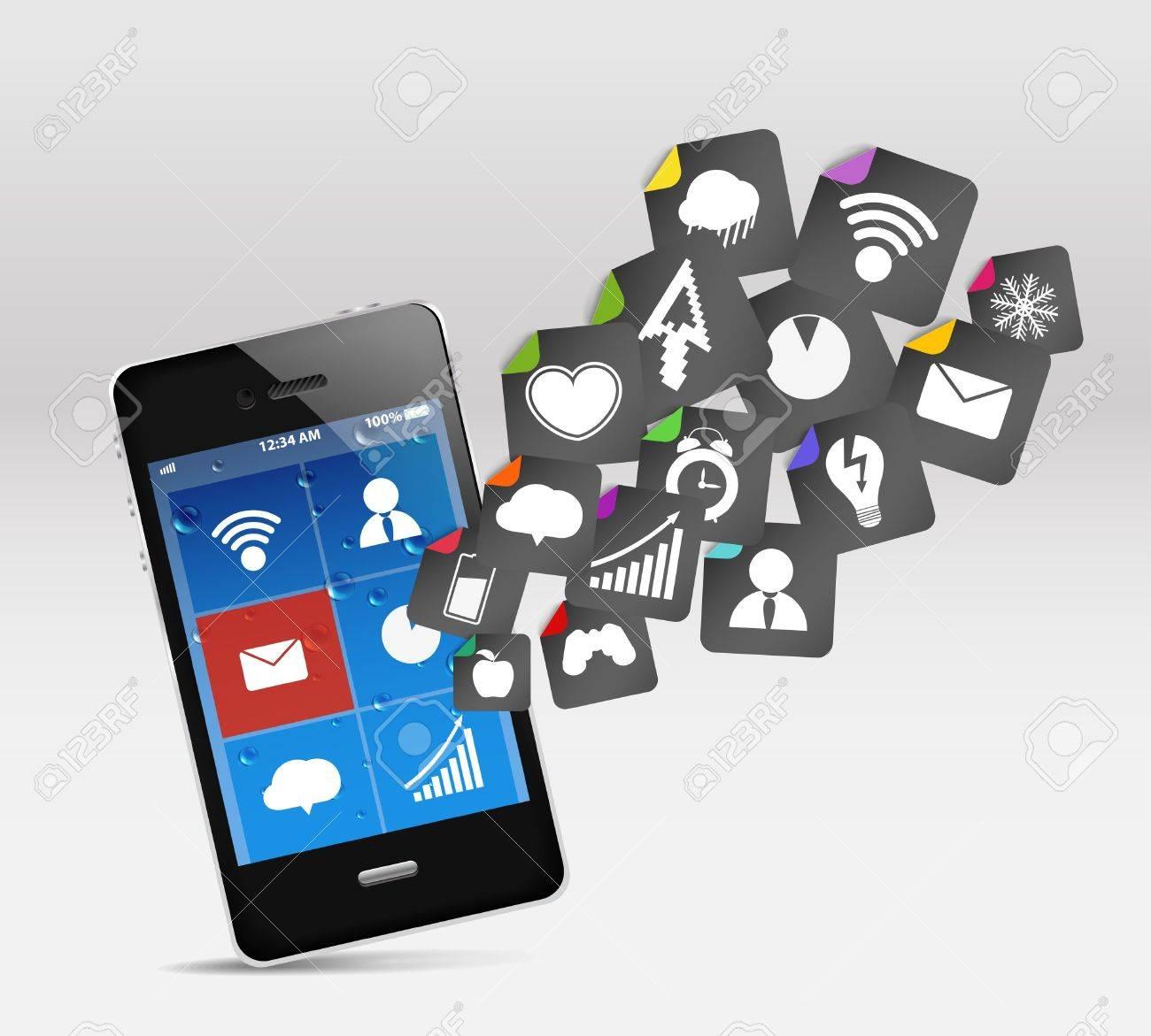 Modern mobile phone and social media Stock Vector - 13007292