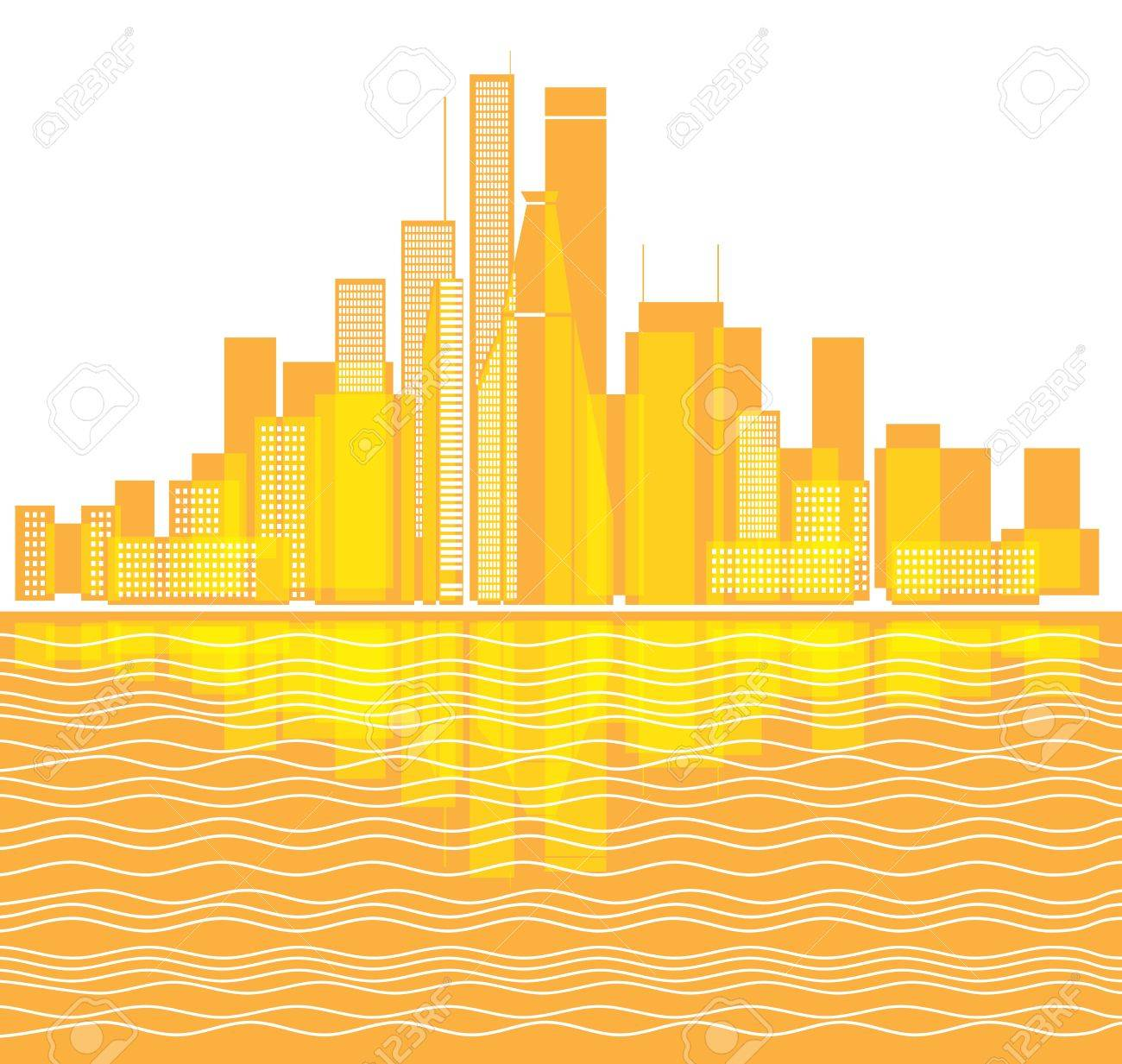 Modern city district illustration Stock Vector - 13102350