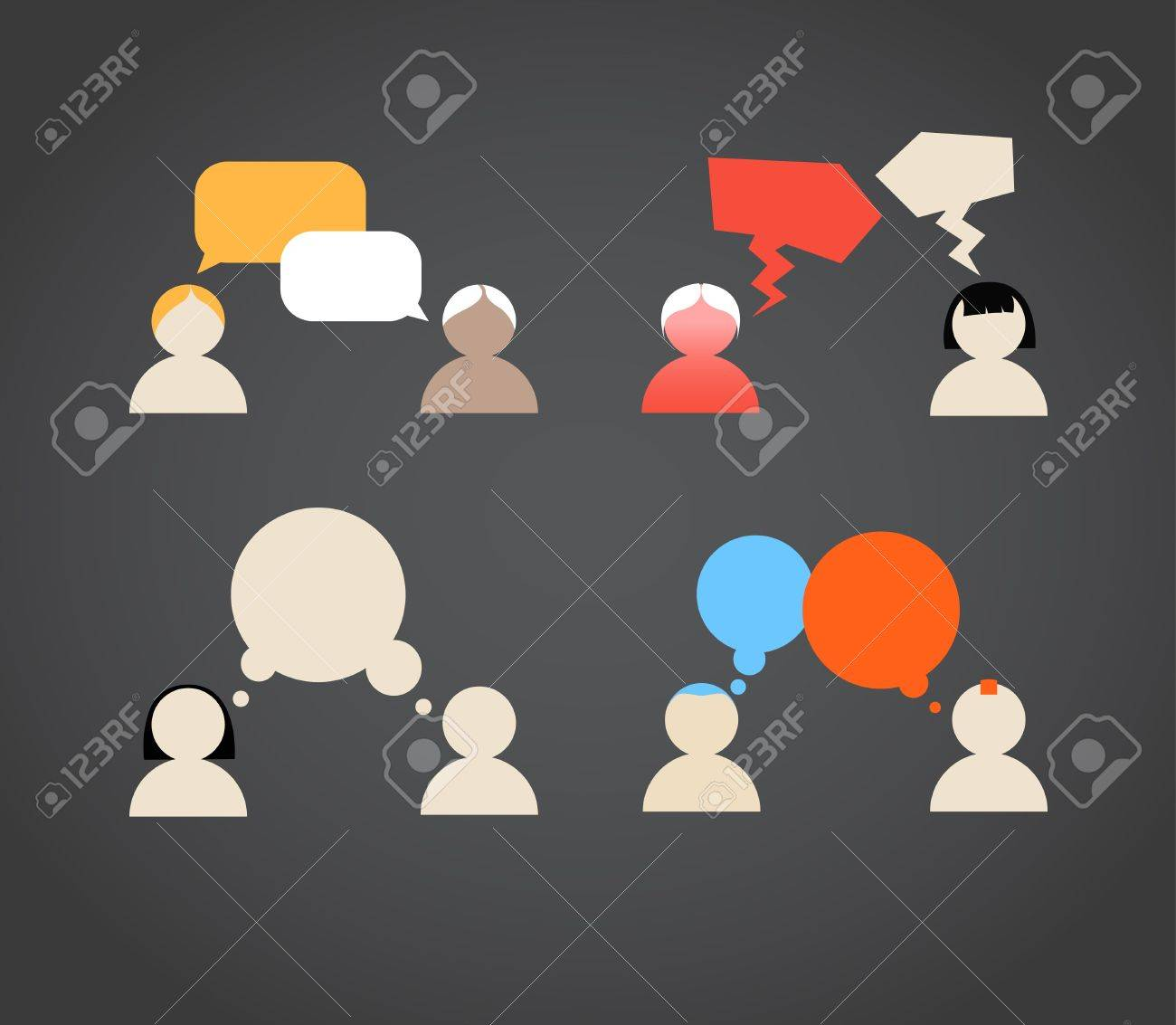 Sillhiuettes of talking people collection Stock Vector - 13407934