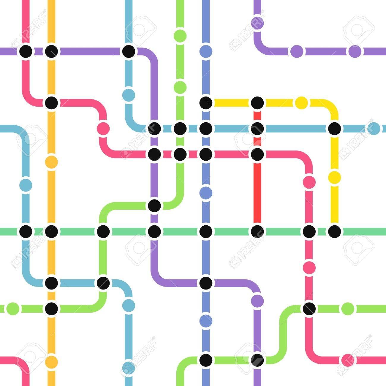 Abstract color metro scheme seamless background Stock Vector - 13407936