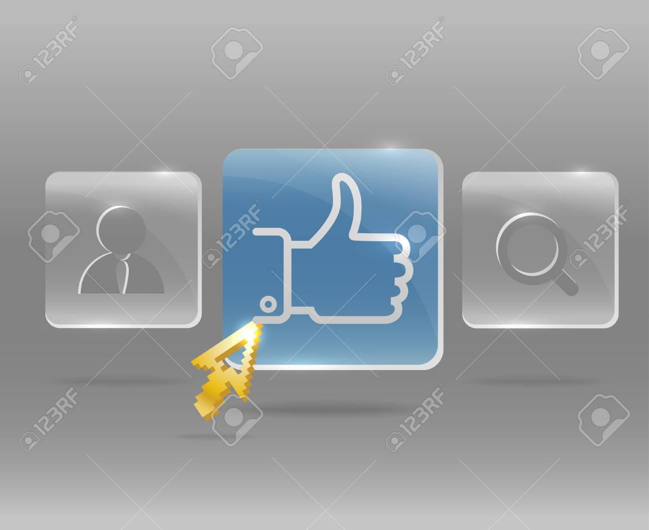 Modern social media menu with glass buttons and golden arrow Stock Vector - 13506899