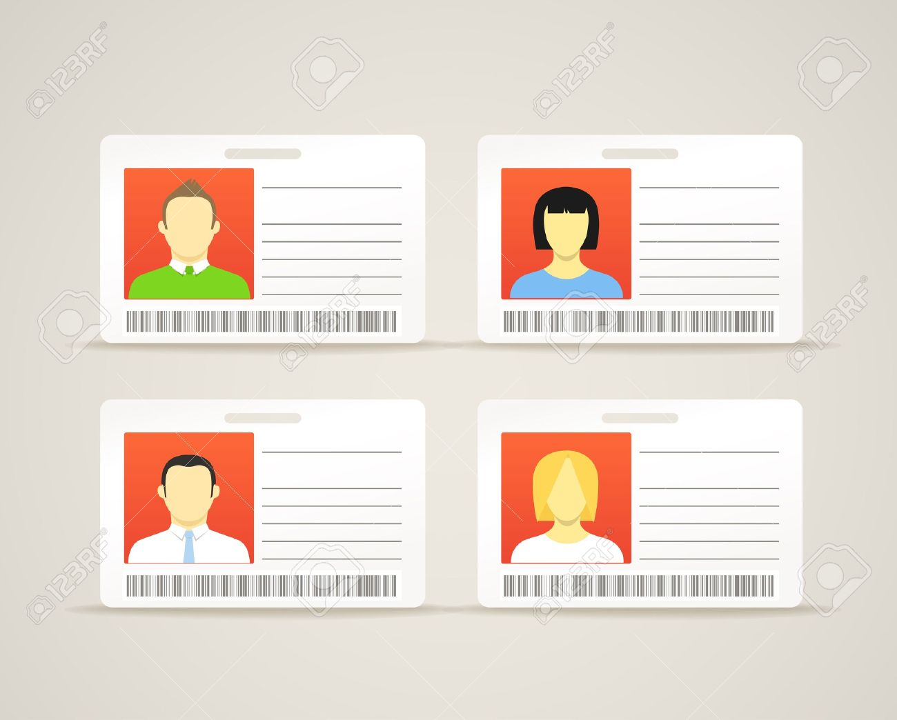 Collection of an id cards with the cute persons Stock Vector - 13614312