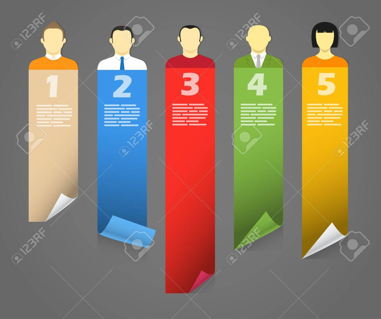 Color account avatars with bending paper banners  Template for a text Stock Vector - 13718545