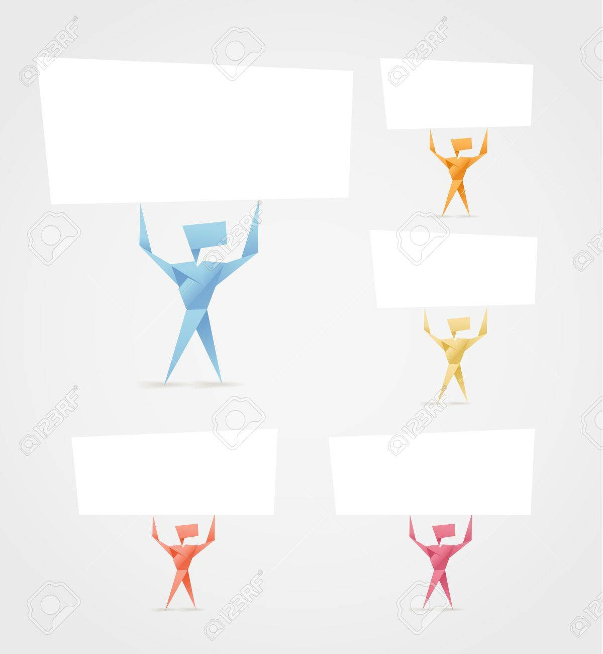 abstract origami men with paper banners template for a text royalty