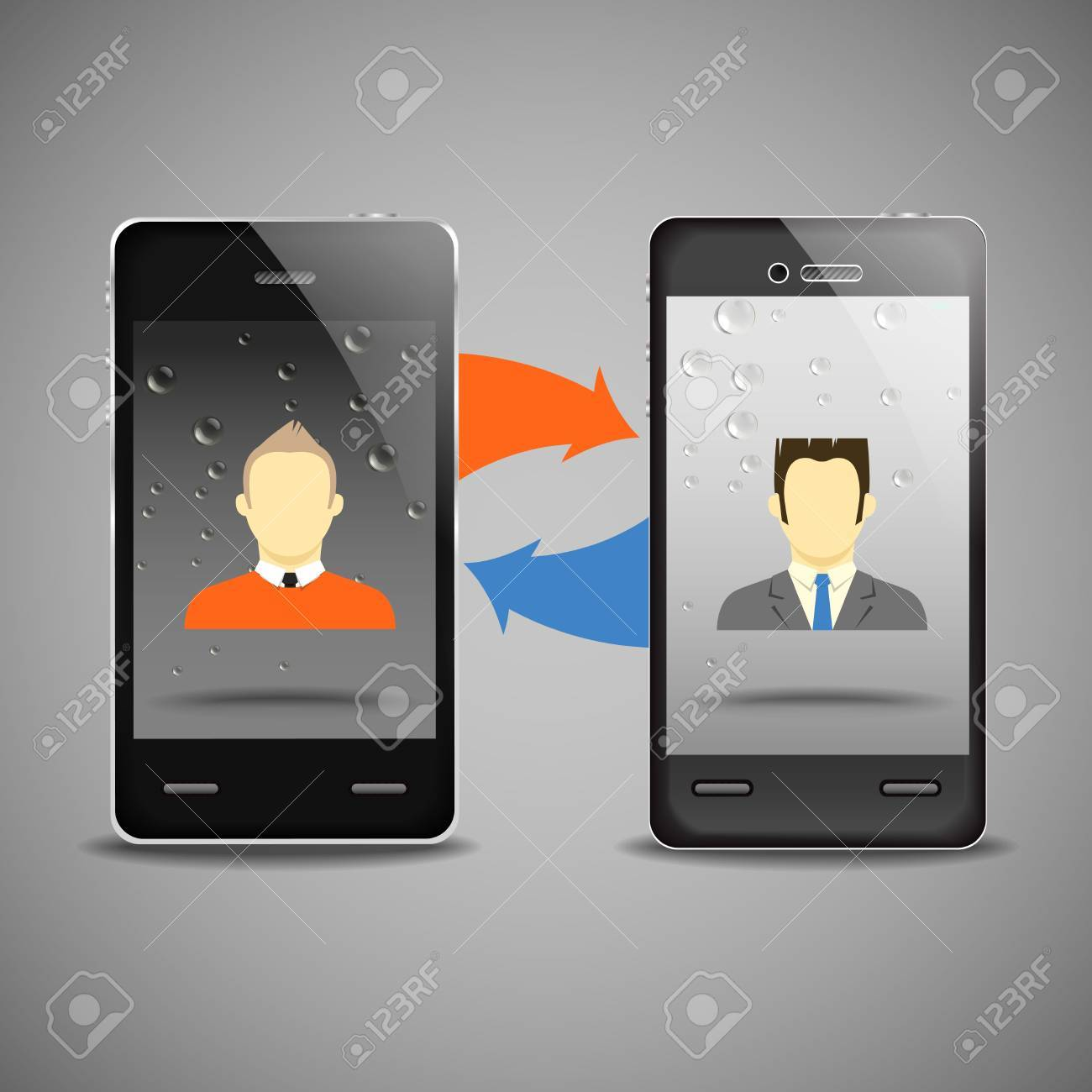 Two businessmen communicatitng with the mobile phones Stock Vector - 13803960
