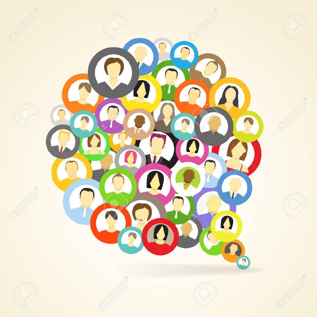 Abstract speech cloud of network avatars Stock Vector - 13843638
