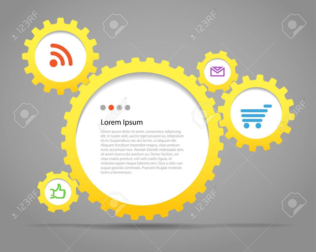 Abstract speech clouds of gear wheels with media icons  Template for a text Stock Vector - 13998534