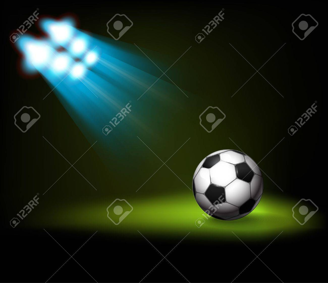 Bright spot lights and illuminated soccer football ball Template for a content Stock Vector - 14121773 & Bright Spot Lights And Illuminated Soccer Football Ball Template ...