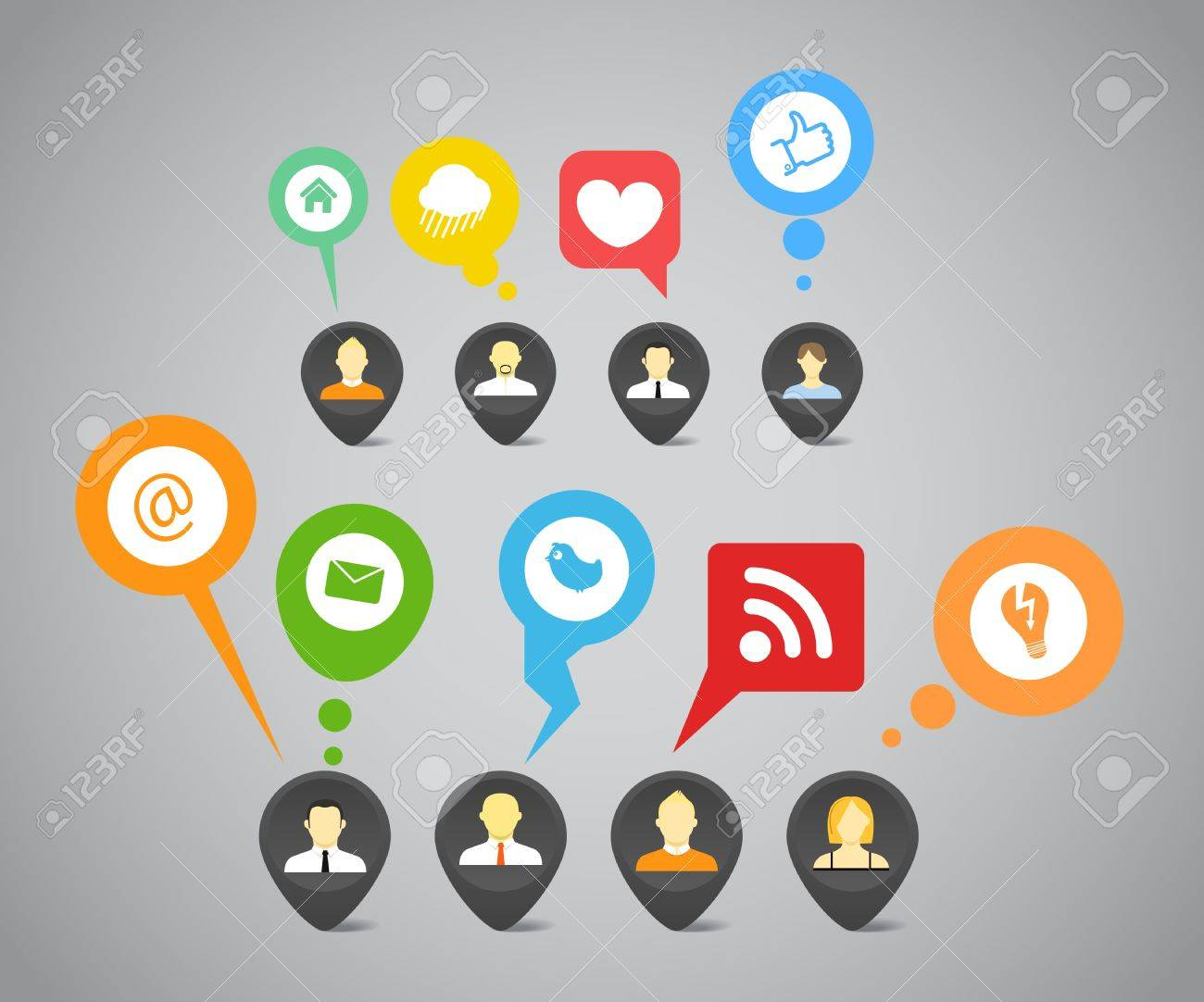 Social media network abstract speech bubbles Stock Vector - 14392977
