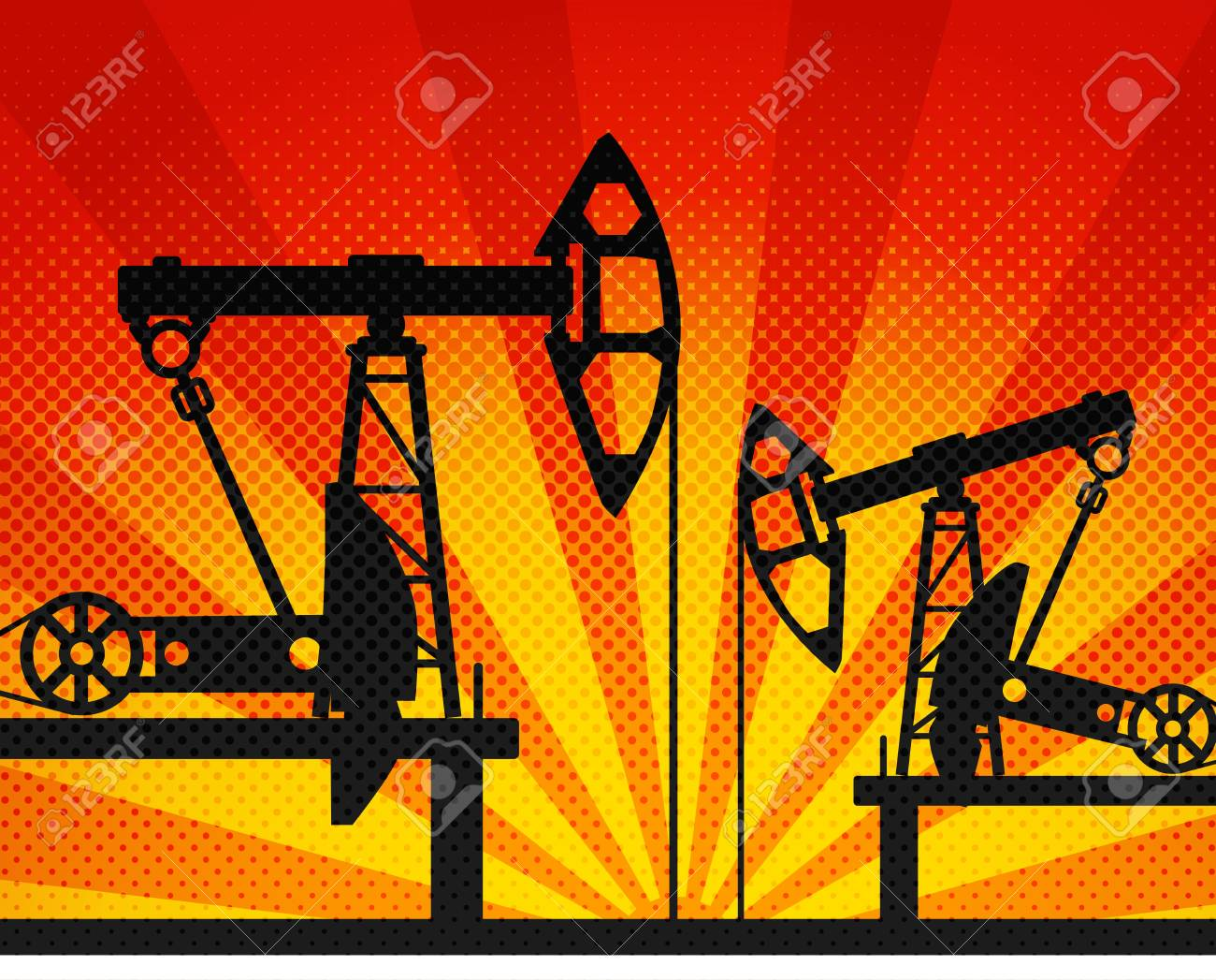 Oil units at work in perspective  Illustration Stock Vector - 14473009