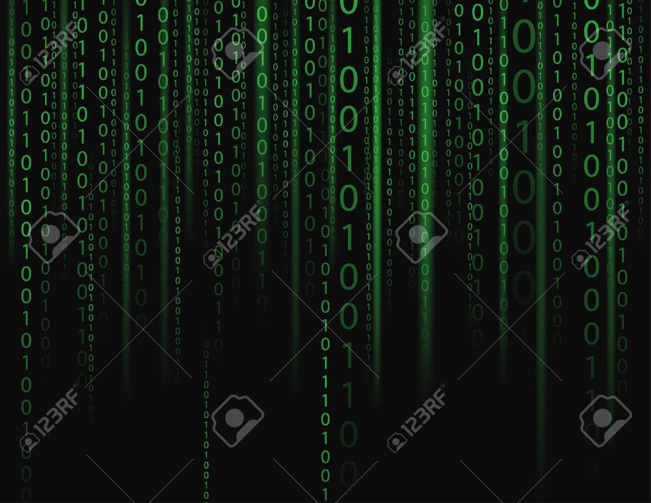 Stream on binary codes on black background - 14608934