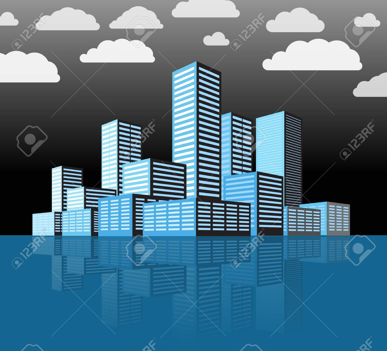 Modern city district  Buildings in perspective Stock Vector - 14749551