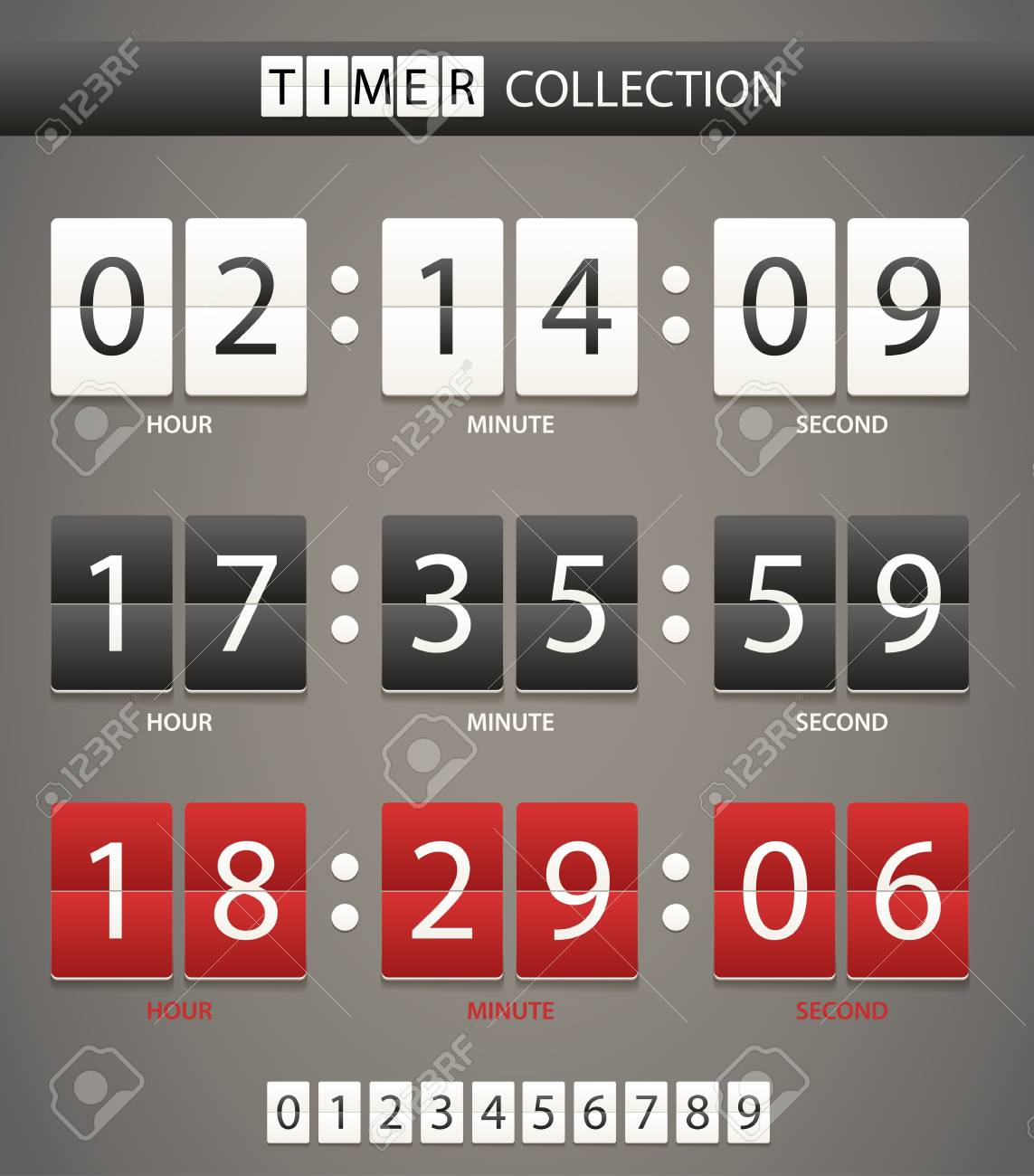 Colleccton of different color digital timers Stock Vector - 15059601