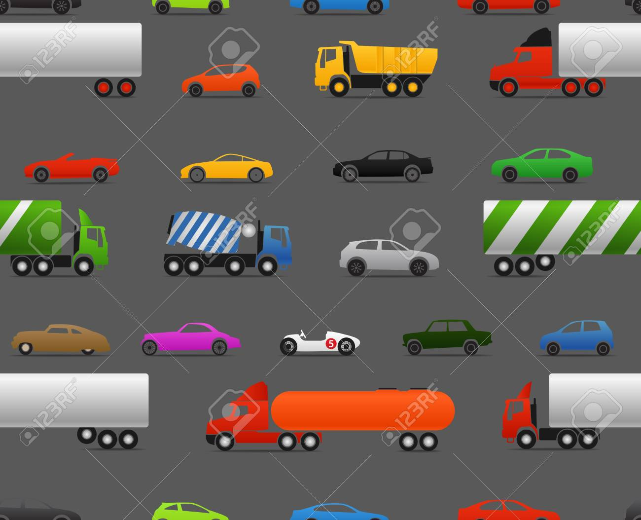Modern and vintage cars and trucks seamless baclground Stock Vector - 15520081
