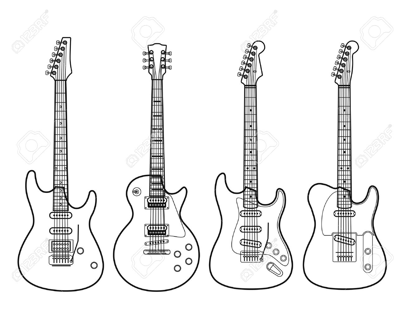 Silhouettes of electric Electric Guitar Outline Clipart