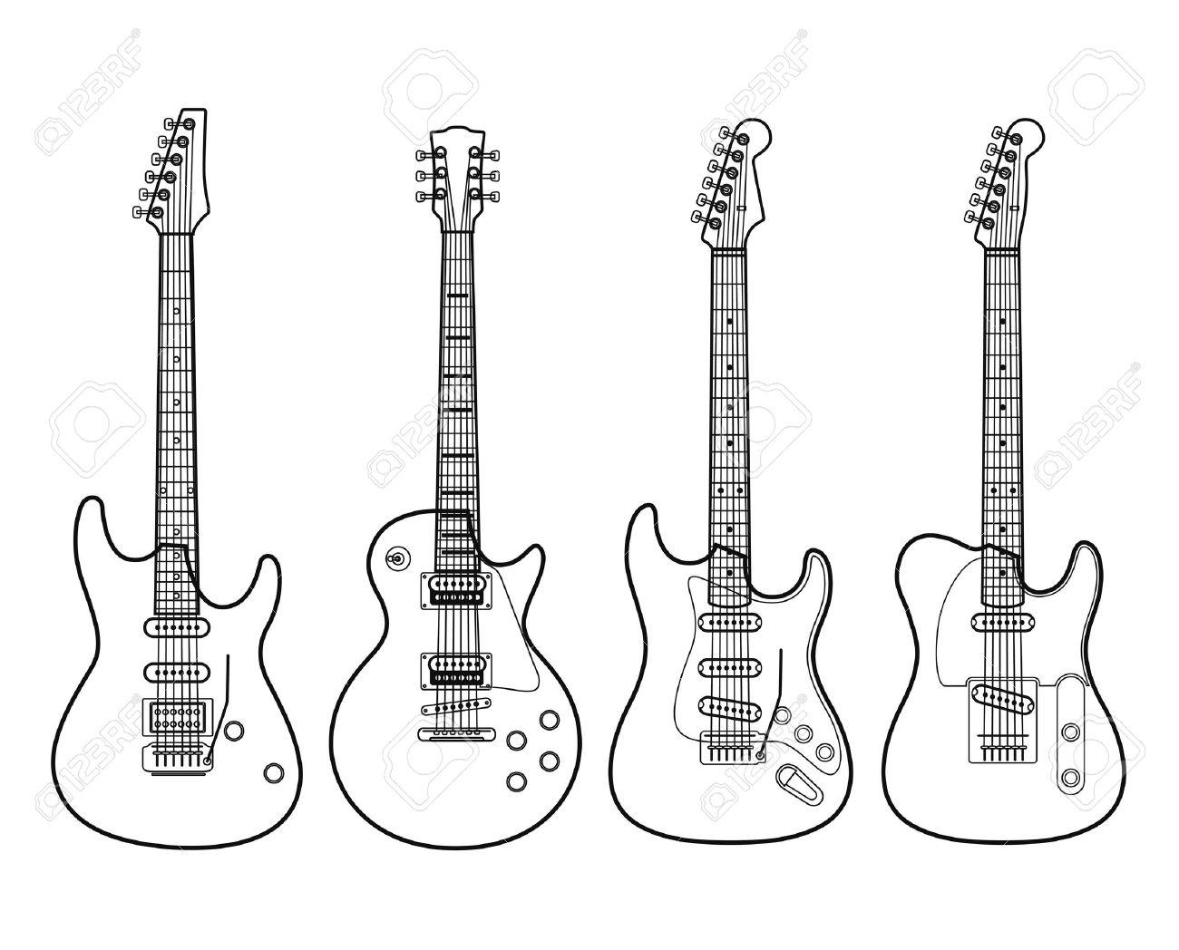 Siluetas De Las Guitarras Eléctricas Aisladas En Blanco