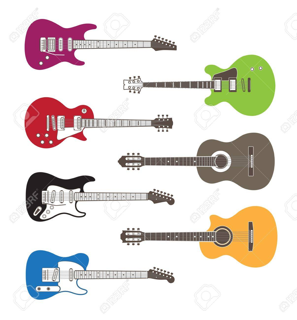 Color silhouettes of acoustic and electric guitars Stock Vector - 15611283