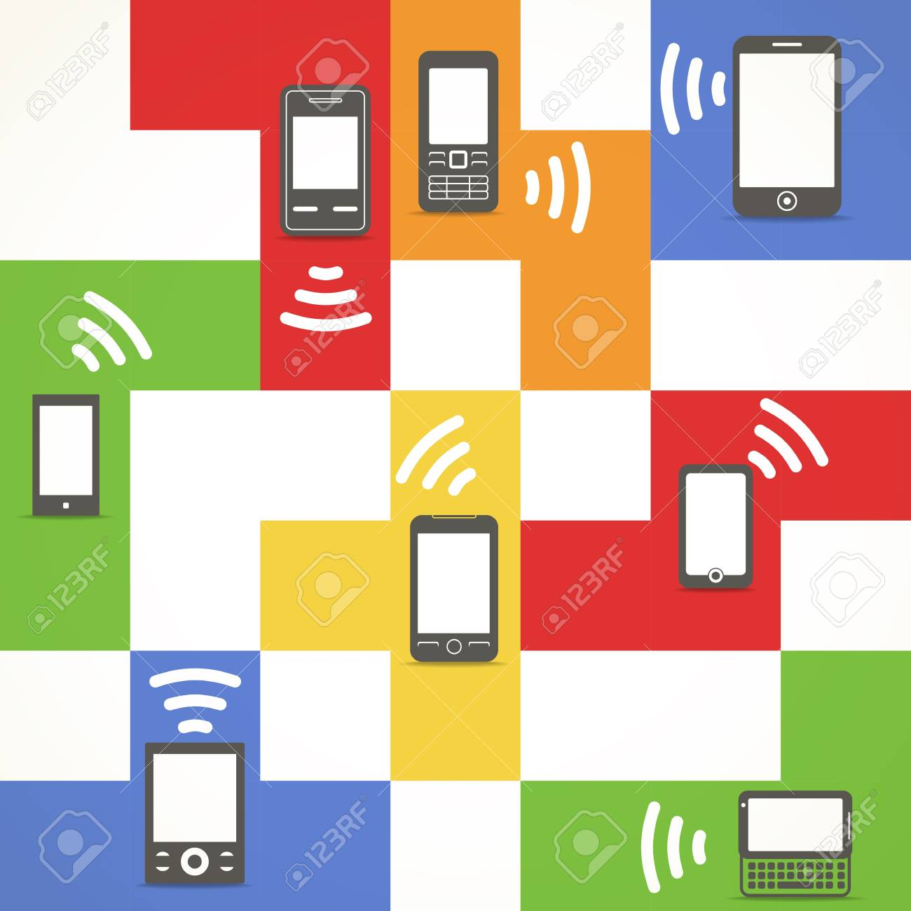 Abstract style modern and vintage mobile gadgets Stock Vector - 15781616