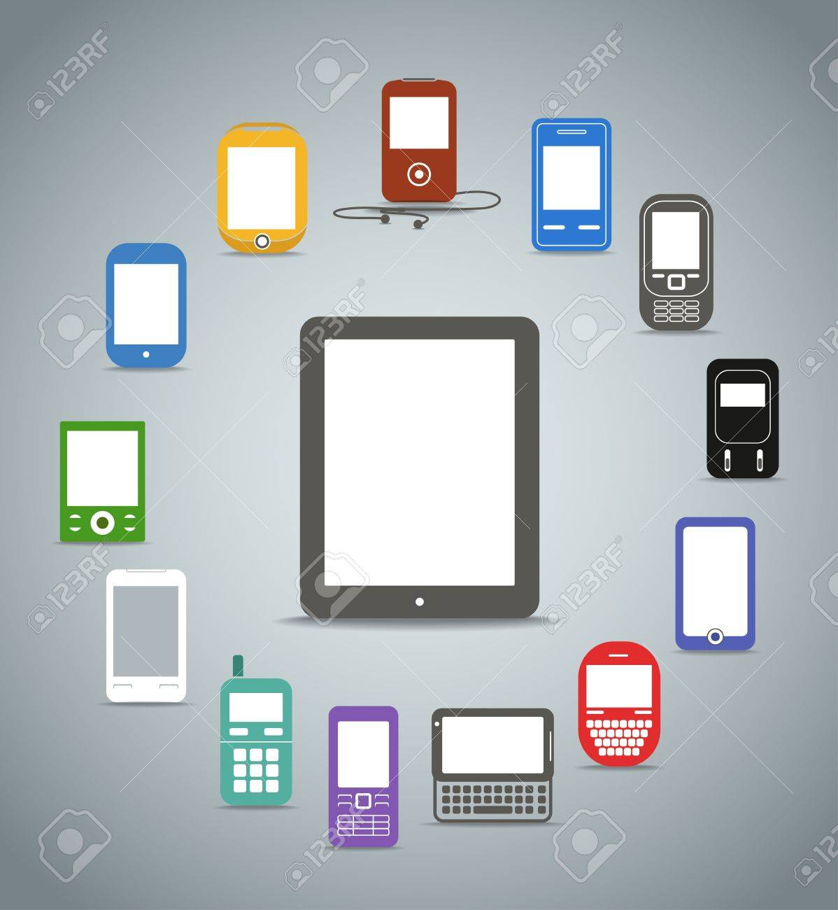 Abstract style modern and vintage mobile color phones across the compact computer Stock Vector - 15908320