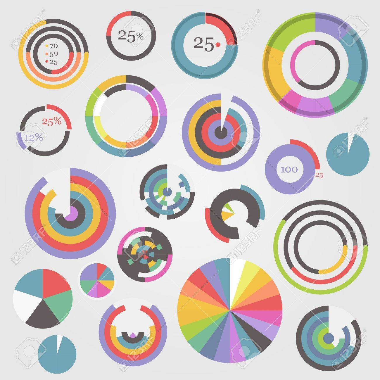 Circle chart templates collection Stock Vector - 16176531