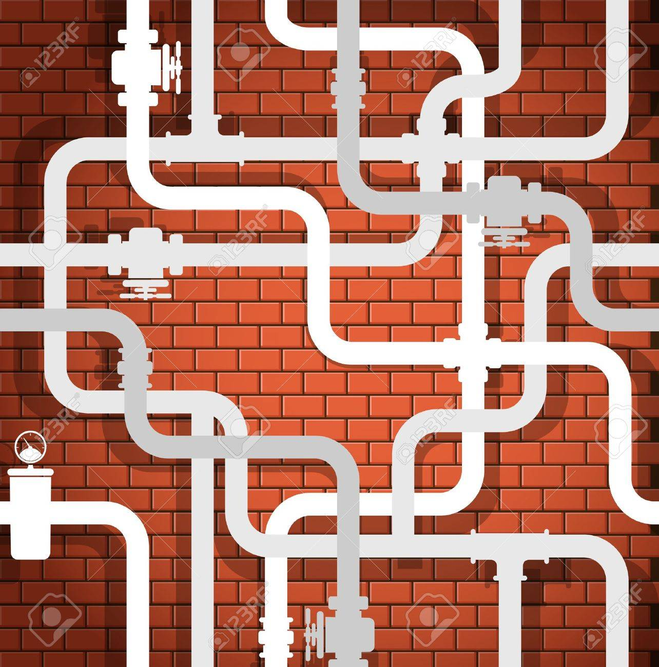 Background of break wall and water pipeline Stock Vector - 16176612