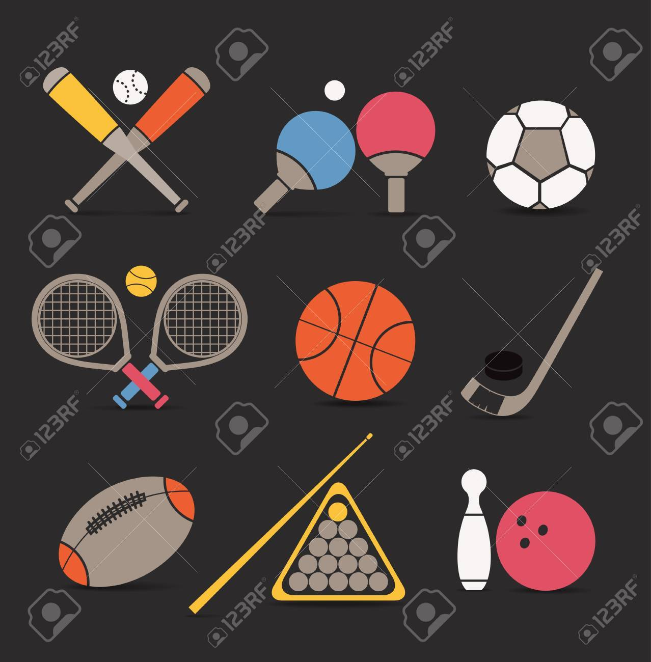 Abstract style sports equipment color icons Stock Vector - 16176529
