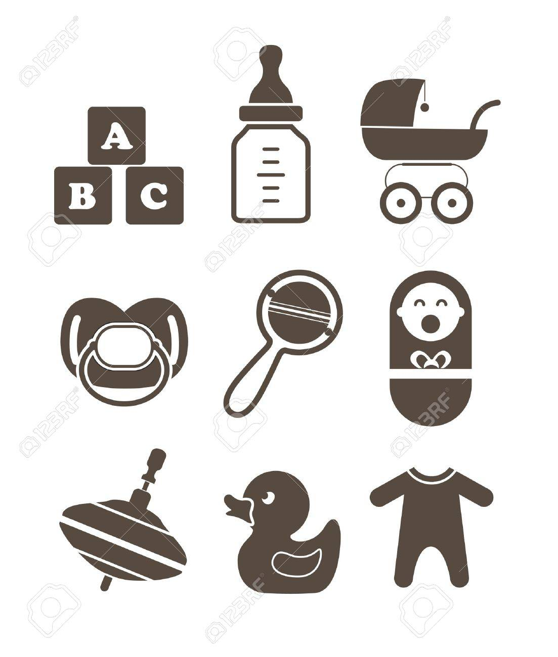 Baby`s accessories silhouettes collection isolated on white Stock Vector - 16312900