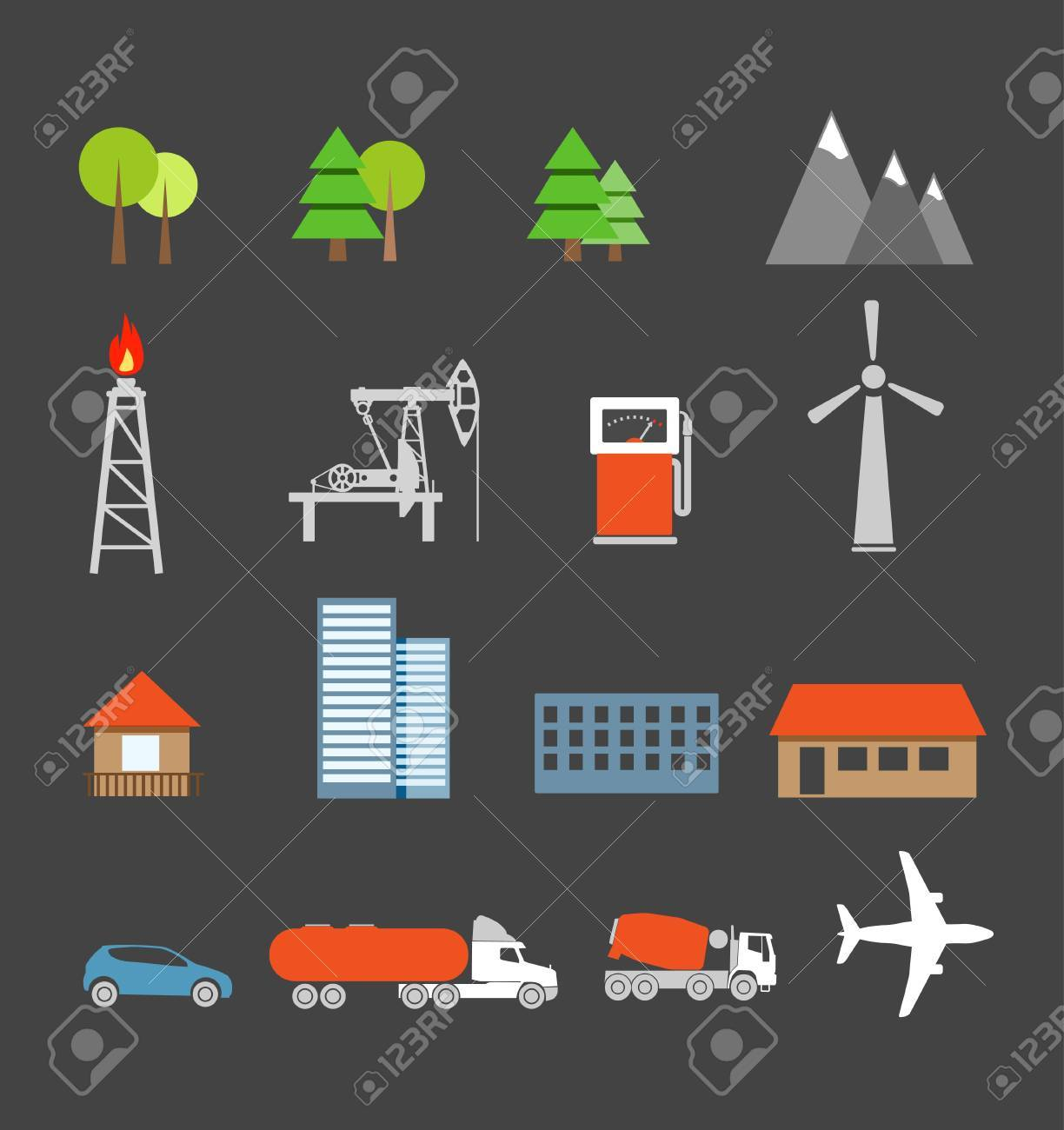 Transport and ecology icons collection Stock Vector - 16437596