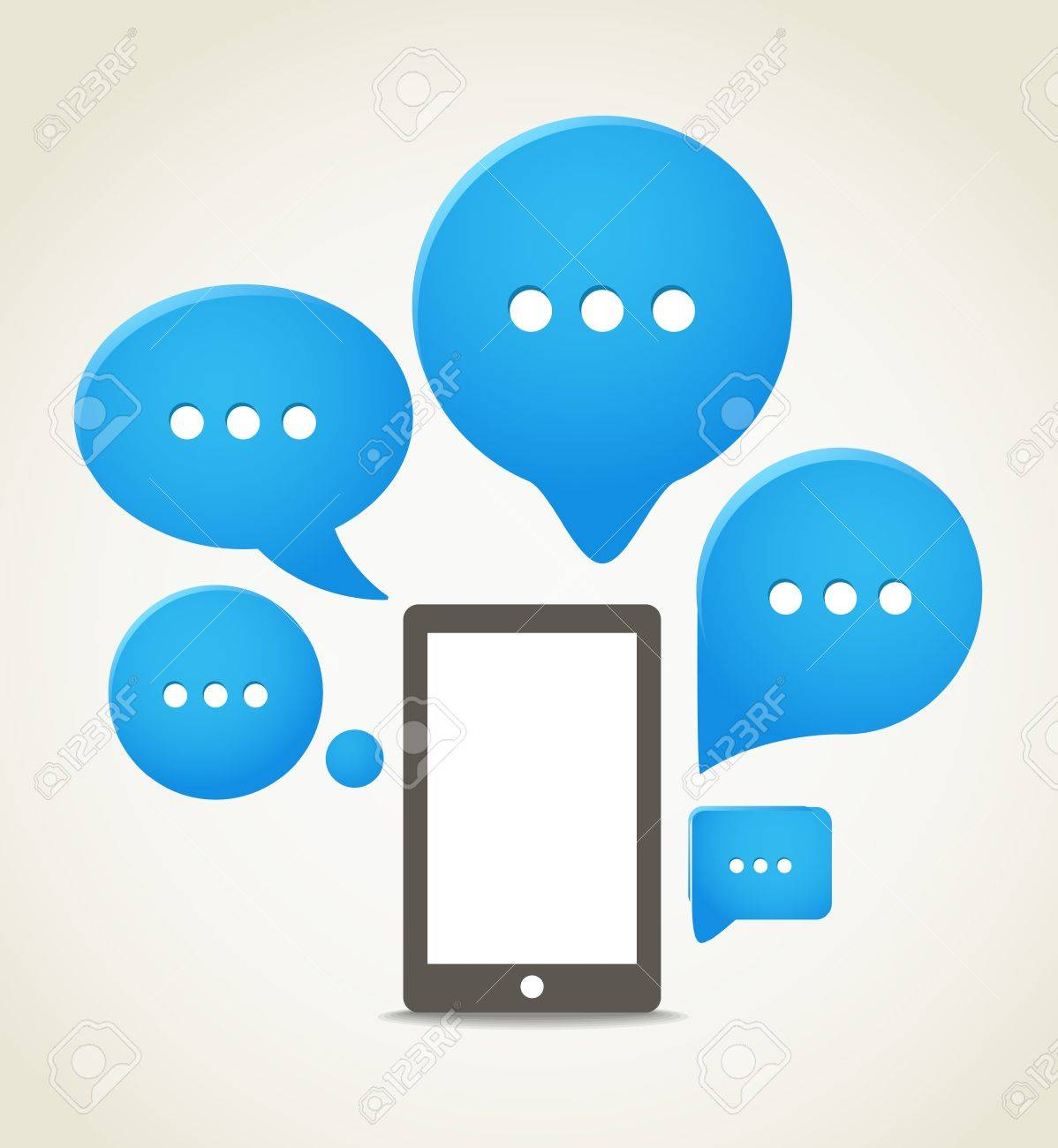 Modern mobile phone with group of speech clouds Stock Vector - 16437599