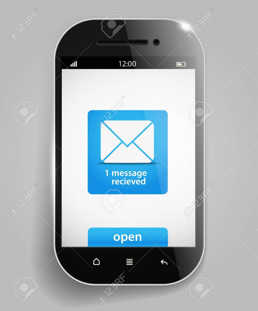 Photorealistic modern mobile phone template with message Stock Vector - 16533789