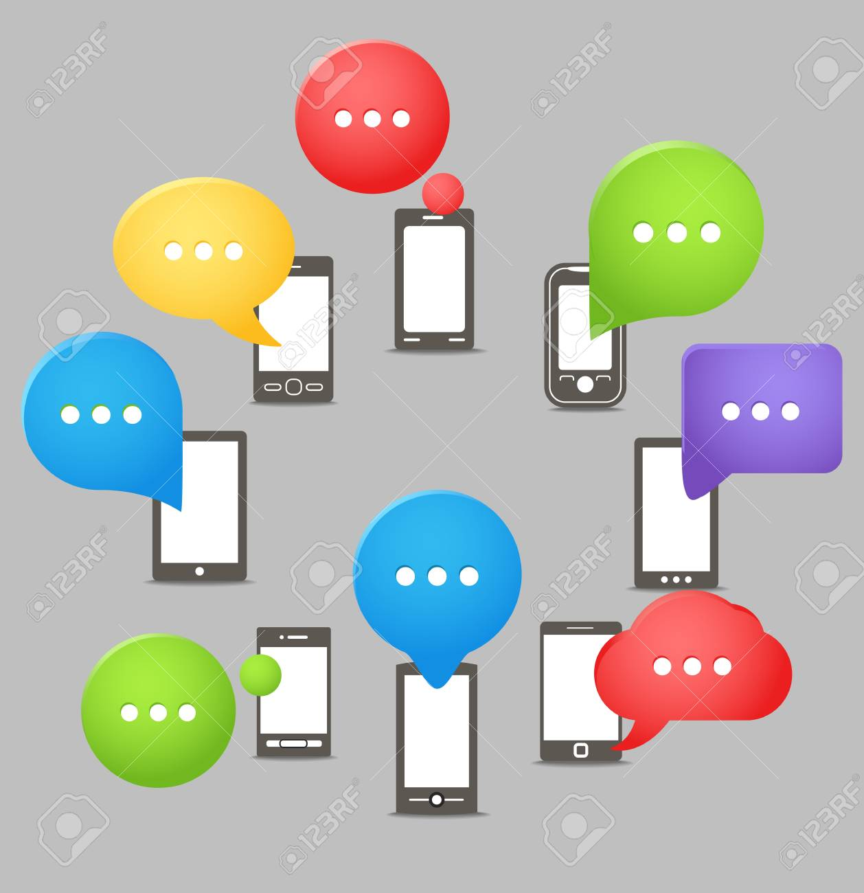 Group of modern mobile phones with speech clouds Stock Vector - 16533773