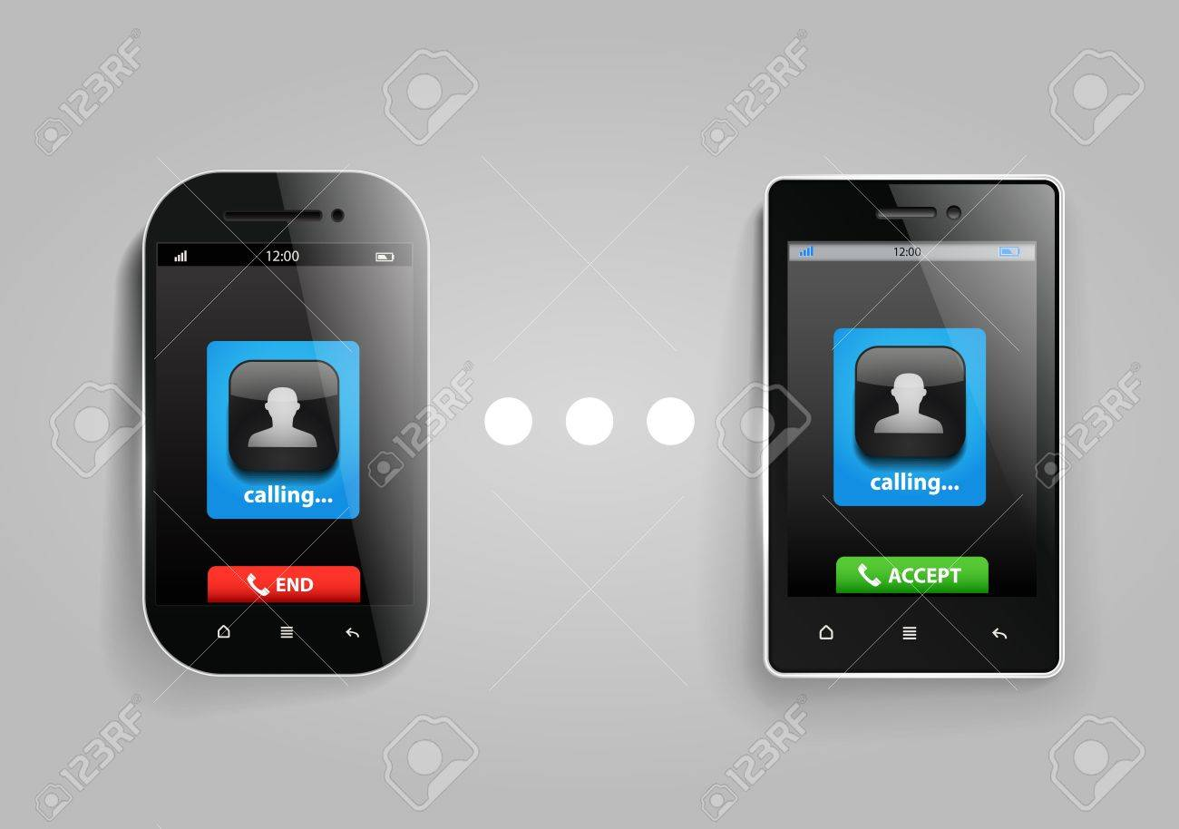 Photorealistic modern mobile phones connection Stock Vector - 16664942