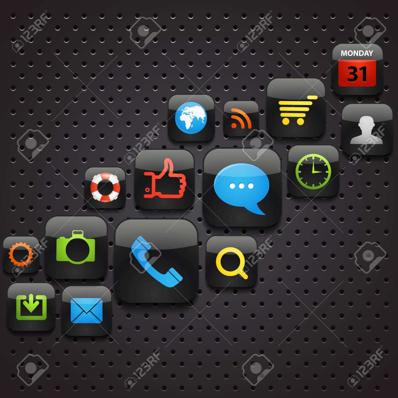 Mobile interface icons abstract background Stock Vector - 16664938