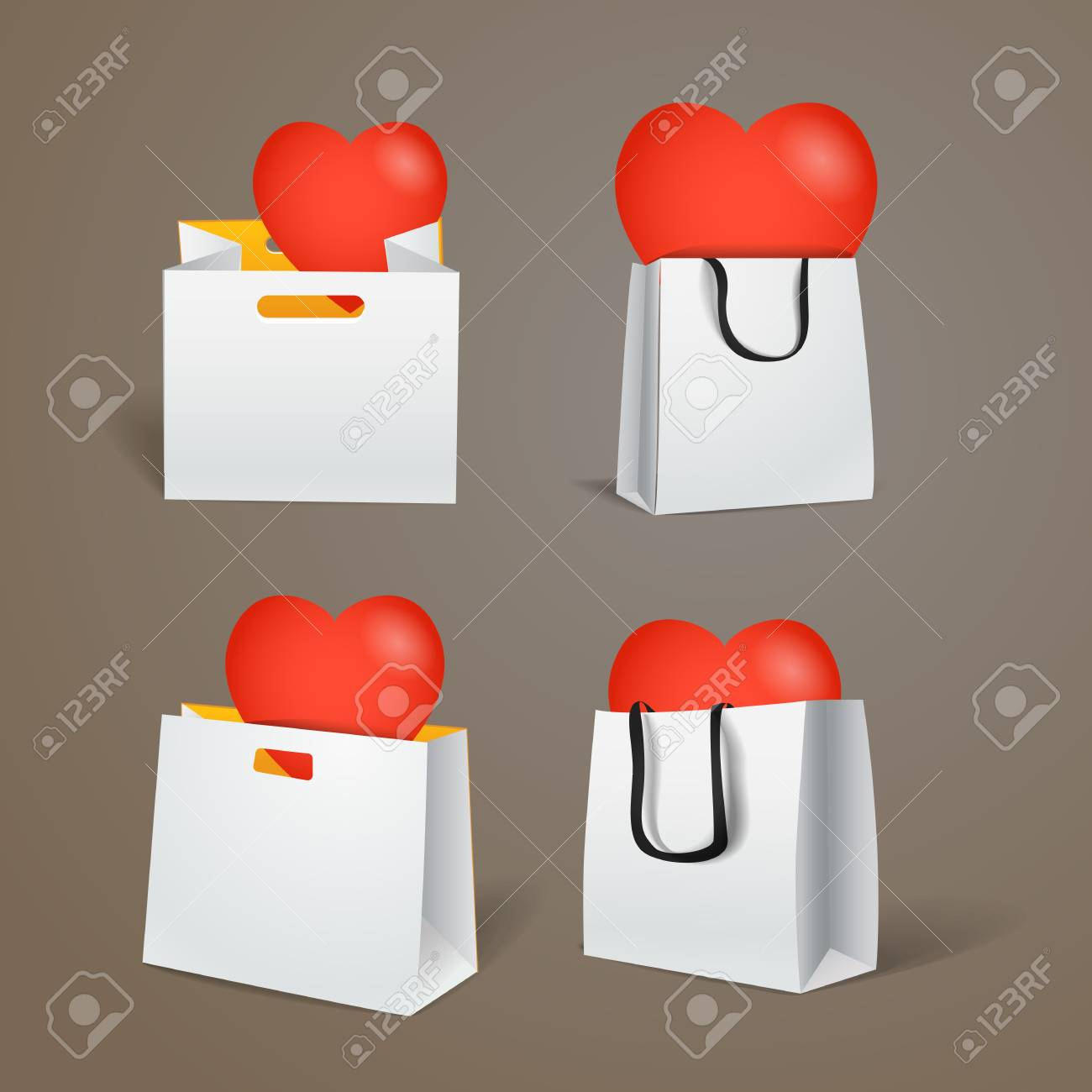 Paper shopping bags with red heart isolated on white Stock Vector - 17574454