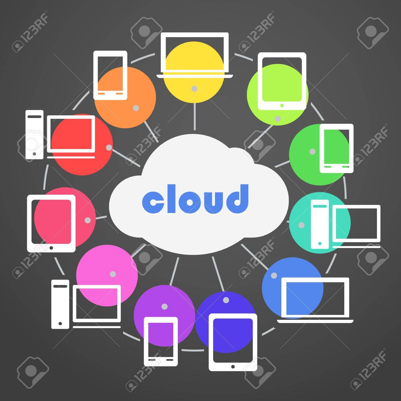 Abstract color scheme cloud technology Stock Vector - 17891474