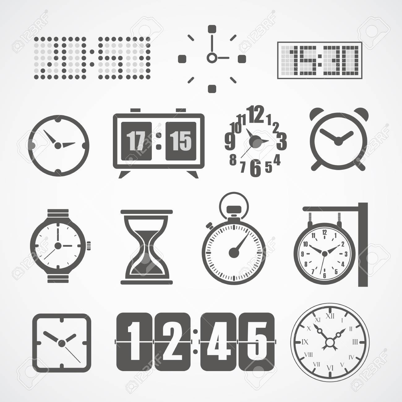 Different styles of clock illustration collection Stock Vector - 18089688