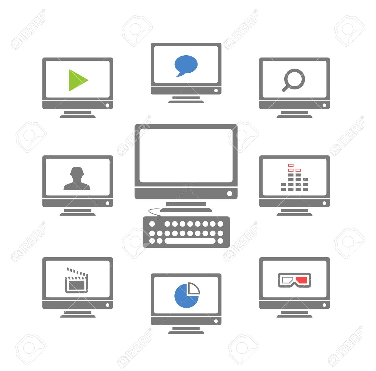 Modern monitors with different icons Stock Vector - 18215348