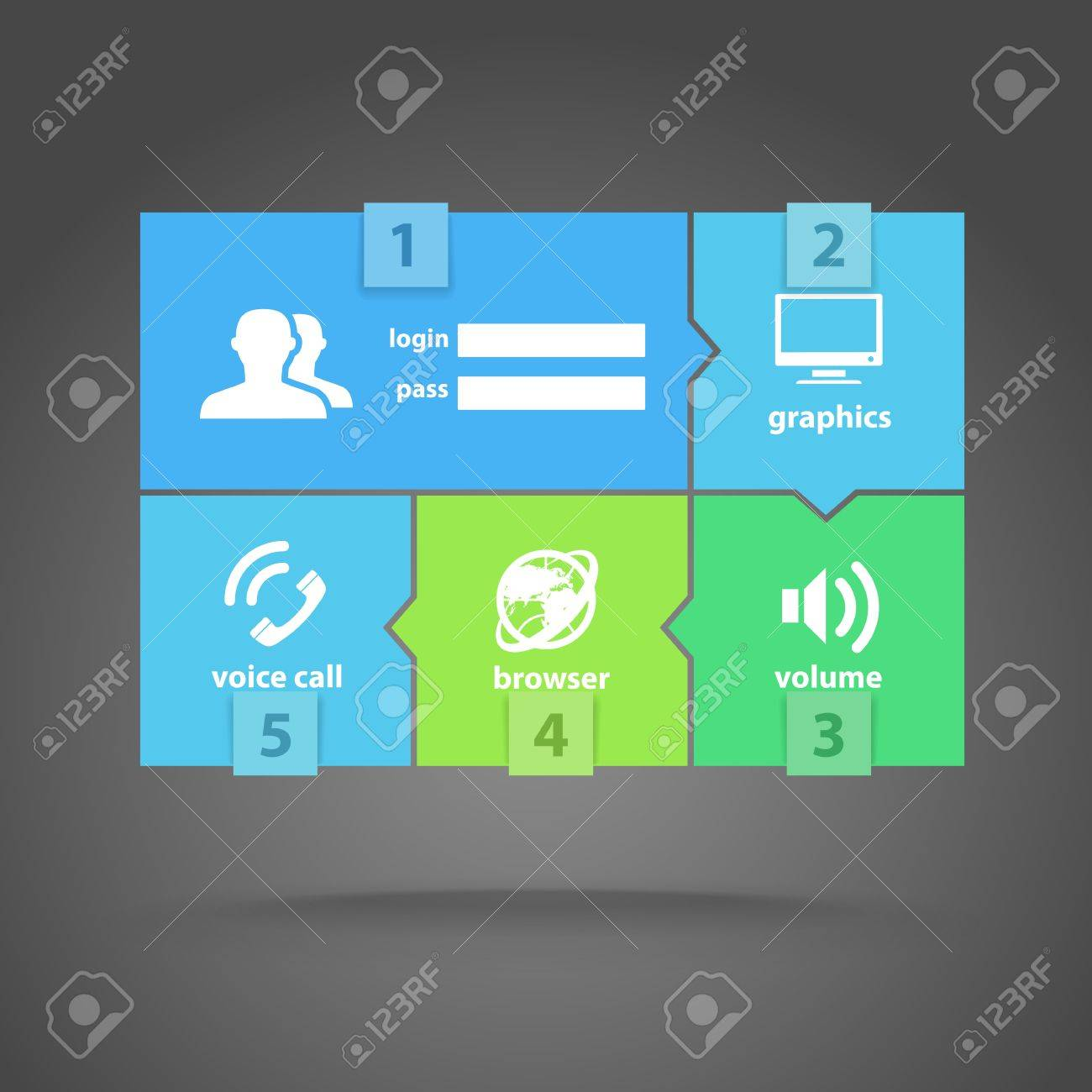 Web color tile interface template with modern icons Stock Vector - 18847831