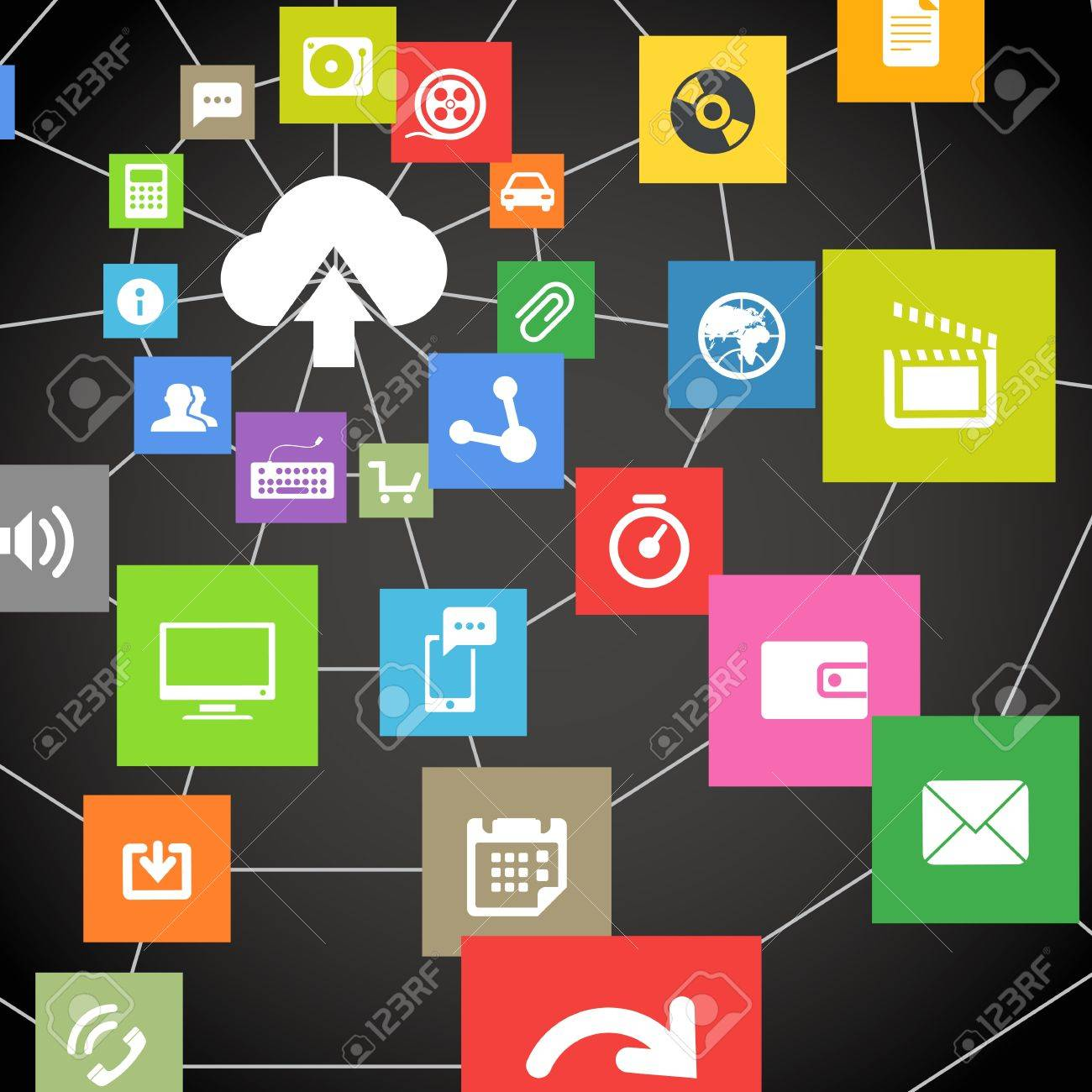 abstract web scheme of cloud technology Stock Vector - 18962780