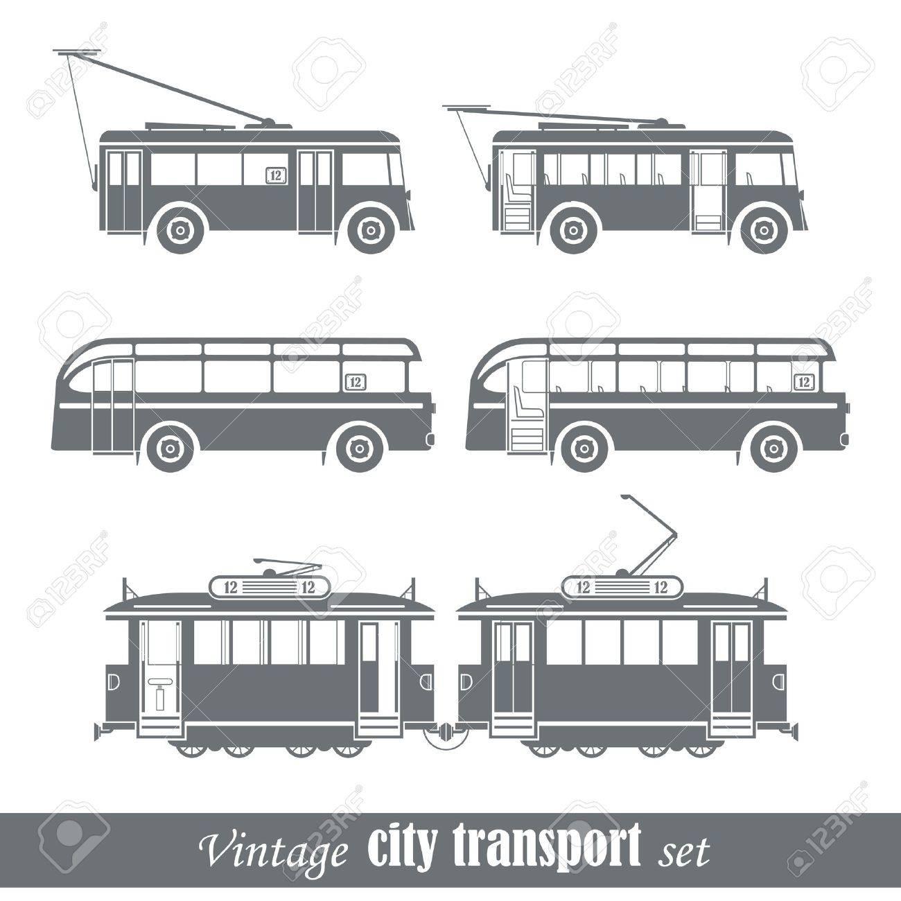 Vintage city transport vehicles set Isolated on white - 18962789
